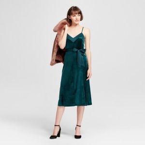 Emerald Velvet Slip Dress